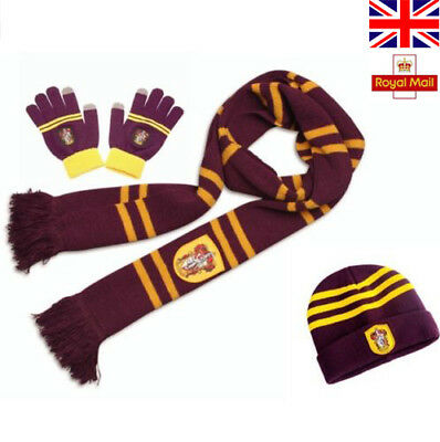 Harry Potter Scarf Kint Hat Touch Glove Gryffindor/Slytherin/Hufflepuff/Raveclaw