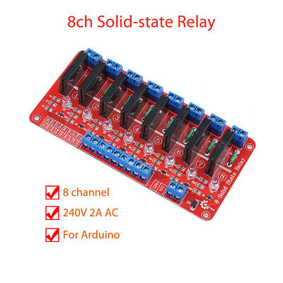 8 Channel 5V Solid State Relay Module For Arduino 240V 2A SSR Red KF301 160mAh