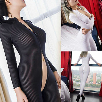 Dame Schwarz Weiß Striped Sheer Bodysuit Smooth Fiber 2 Zipper Langarm Jumpsuit