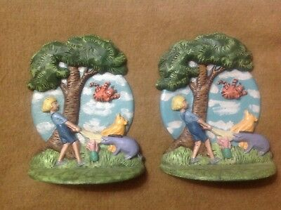 Vintage Cast Iron Painted Disney Character Book End/door Stop(Pair)