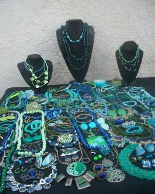 Lot Of Vintage/now Costume Jewelry Beautiful Blues & Gorgeous Greens Amazing Col