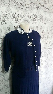 Vtg 40s Blue Wool Chenille Cardigan Sweater  Skirt Suit Dress Set Glass Beads M