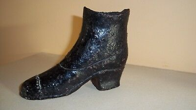 Cast Iron ? Boot Taper / Match Holder Signed W Fox Buckey Very Old Victorian ?