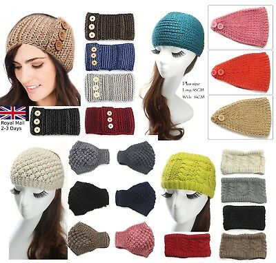 Women Ladies Winter Cross Crochet Knitted Wool Headband Hairband Earmuffs Warm