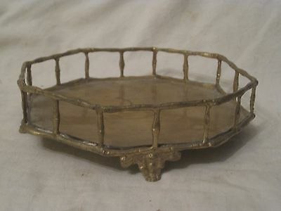 unique vintage metal footed octagon tray metal alloy brass* ? claw foot India