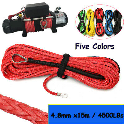 4.8mm X 15m Winch Line Rope Cable 4500 LBs Sheath For ATV UTV Vehicle Synthetic