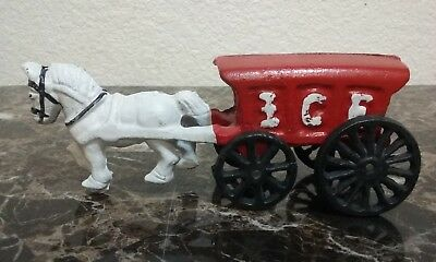Cast Iron Horse Drawn ICE Wagon Vintage Red Cast Iron Toy 7.5 in