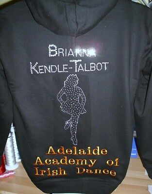 Irish Dance Zipped Hoodie Personalised Crystals/Embroidery great for Teams
