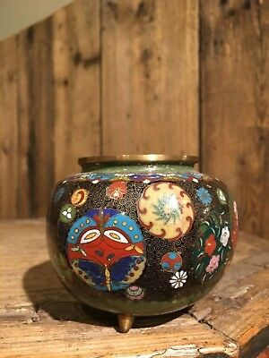 Uralte super feine Cloisonne SCHMETTERLINGS Deckeldose Japan oder China um 1890