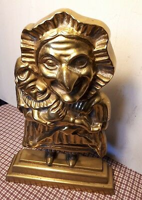"STUUNING VICTORIAN HEAVY SOLID BRASS BABY PUNCH AND JUDY DOOR STOP 12"" Tall"