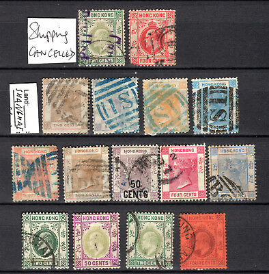 Hong Kong China Qv Kevii Selection Of Used Stamps Pmk Interest