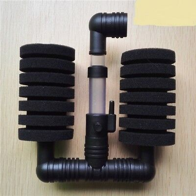 Aquarium Double SPONGE FILTER Biochemical Air Driven For Fry Shrimp Fish Tank