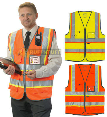 Hi Vis Premium Vest High Visibility Phone ID Pockets Yellow Orange