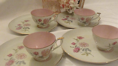 4 Vintage Lefton China Pink Floral Tea Cup & Snack Plate Excellent Condition