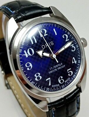 Vintage Refurbish Hand Wind Swiss St 96 Movement Blue New Dial Mens Wrist Watch