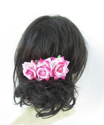 Pink Rose Flower Hair Comb Bridesmaid Fascinator Bridal Wedding Headpiece 5008