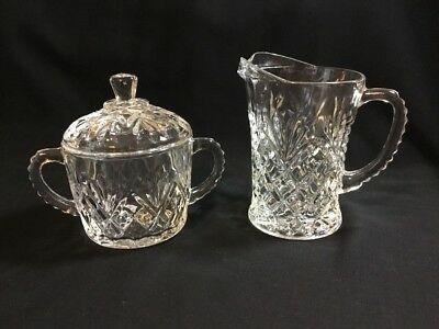 Vintage Anchor Hocking Glass Pineapple Prescut Sugar W/ Lid & Creamer