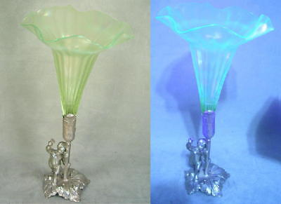 Antique Victorian Style Silver & Iridized Vaseline Opalescent Art Glass Epergne