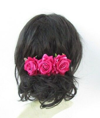 Cerise Hot Pink Rose Flower Hair Comb Bridesmaid Fascinator Bridal Wedding 5009