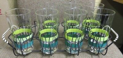 (7) Libbey Shades of Green Bands Glasses in Carrier