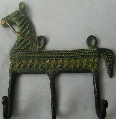 Decorative Vintage Wall Hanging Hooks Coat Hanger Horse Face Brass Metal Statue