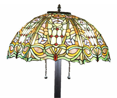 """Tiffany Style Stained Glass Floor Lamp """"Regency"""" w/ 20"""" Shade -FREE SHIP IN US"""