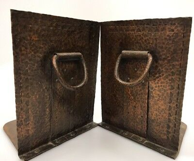 Vintage Hammered Copper Bookends Ring & Rivet Arts & Crafts Design