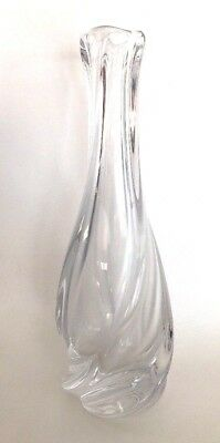 Large VTG SAINT LOUIS Frosted Crystal Vase 10 inches tall France Twised RARE