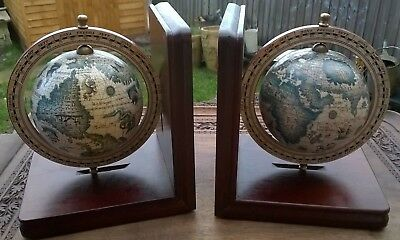 Spinning globe bookends. Wooden base. Old world map