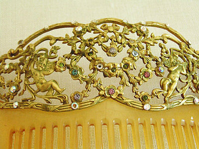 Vintage Stamped Brass Hair Comb with Ornate Cherubs & Flowers Design Rhinestones