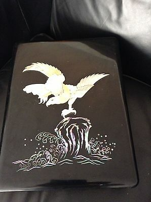 VINTAGE BLACK LAQUER BOX WITH Mother of Pearl EAGLE LARGE MUST See !!!