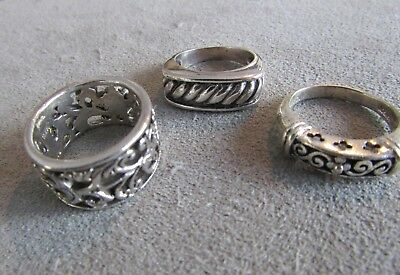 Lot Of Three Heavy Vintage Sterling Silver Band Rings No Stones Sz 7 - 7.25
