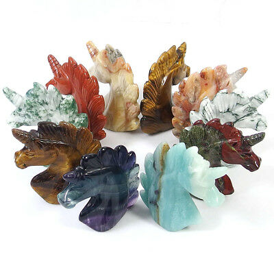 Hand Carved Unicorn Head Natural Gemstone Jasper Agate Fluorite Quartz Crystal