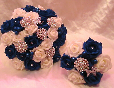 Wedding Flowers Bouquet Brides Pacakge Royal Blue Ivory Brooches Diamantes