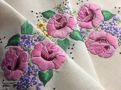 Exquisite Vintage Linen Hand Embroidered Tablecloth ~ Roses/butterflies