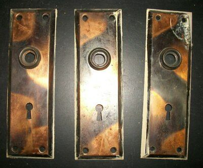Vintage Japanned Brass Key Escutcheon Keyhole Plate Lot 12 Architectural Salvage