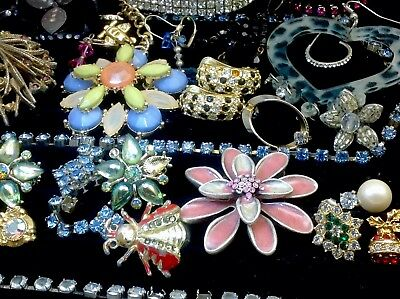 Large Lot Of Vintage~Now Rhinestone, Crystal.. Jewelry For Repair, Parts (E278)