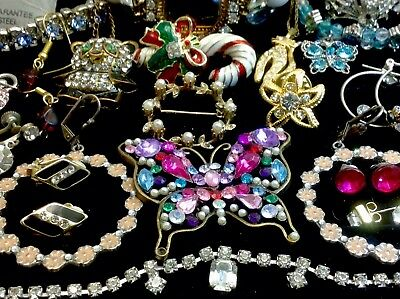 Large Lot Of Vintage~Now Rhinestone, Crystal... Jewelry  (E260)