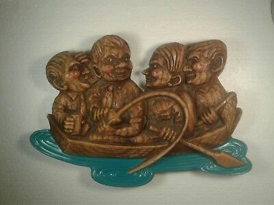 VINTAGE RARE 1960's PABST BLUE RIBBON PLASTIC BEER SIGN 4 GENTS IN A BOAT