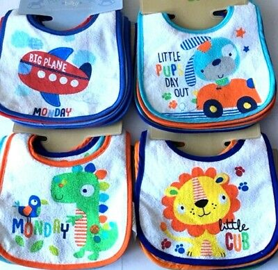 7 pack BABY BIBS DAYS of the WEEK Bib Terry different 8 designs Waterproof back