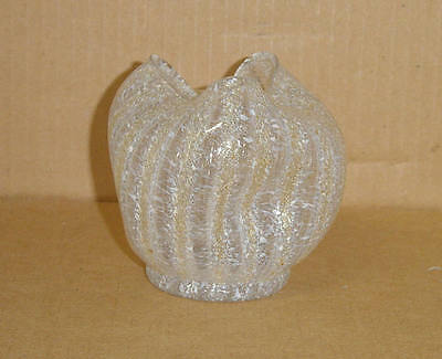 Elegant Gold Opalescent Spatter Art Deco Pinched Rose Bowl Granite Dugan 1902