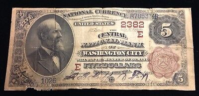 Series 1882 $5 National Currency The Central National Bank of Washington City