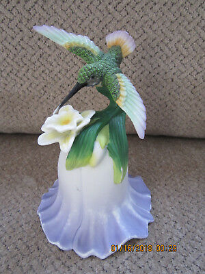 "Source of Fine Collectibles porcelain Avon 2000 hummingbird bell 5.5"" tall"