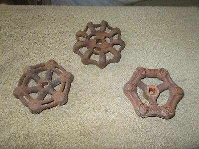 VINTAGE  3 pcs. FAUCET CAST IRON VALVE HANDLES STEAMPUNK WATER TWO 4 in. 1 4-1/4