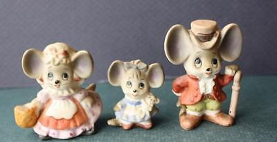 Adorable Set of 3 Mouse Figurines-Mice Family Dad-Mom-Girl-Bisque-Miniature-CUTE