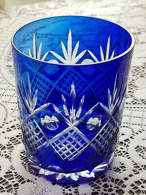 "Vintage  Bohemian Czech Cobalt Blue Cut to Clear Old Fashion Glass 4"" Pineapple"