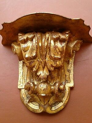 "Large Italian Antique Style Wall Shelf Sconce 18"" Gold Leaf Scrolls Wood"