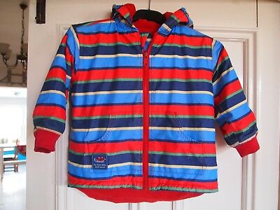 JoJo Maman Bebe Splish Splash Reversible Striped & Red Fleece Jacket 3-4 Years