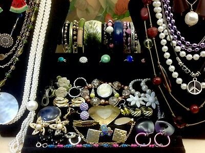 Large Lot Of Vintage~Now Costume Jewelry Earrings, Brooches, Bracelets... (E130)