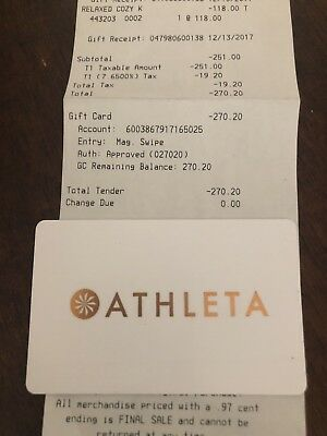 Athletica Gift Card $270.20 Value